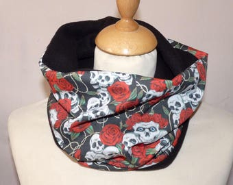 Snood neck cotton calavera skull Mexican and fleece black