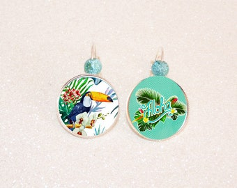 Earrings sleepers silver cabochon toucan and tropical flowers