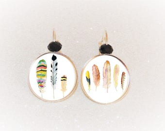 Earrings sleepers silver cabochon pink/beige ethnic feathers