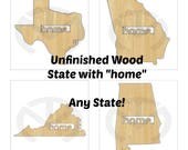 """Unfinished Wood State Shape """"home."""" Door Hanger Laser Cutout with Star over your city, *All States Available!"""
