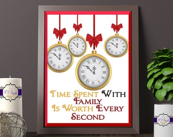 Family Quote Print - Time Spent With Family Is Worth Every Second Print - Time Print - Christmas Print - Family Gift - Printed and Unframed