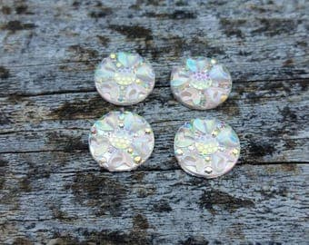 12mm Clear AB Floral Cabochon