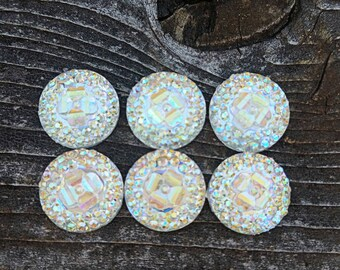 12mm Clear Ab Floral & Dots Resin Cabochon