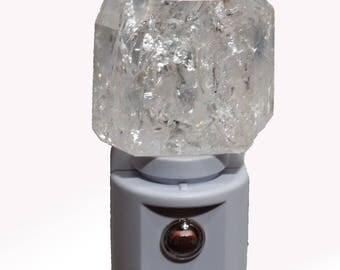 "Automatic Sensor ""Fractured"" White Quartz Crystal LED Gemstone Night Light -- Crystals//Minerals//Geodes"