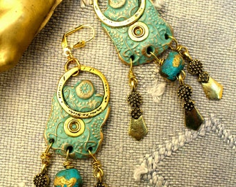 Ethnic dangles, very design, OOAK, faded turquoise and gold. Polymer, gilded metal. Unique creation.