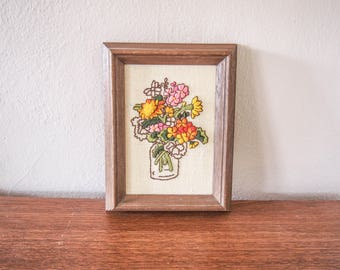 Vintage Bouquet Flower Needlepoint Embroidery