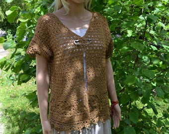 crocheted vest Brown linen lace