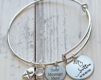 Michigan Smitten in the Mitten Personalized Adjustable Wire Bangle Bracelet