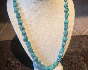 Turquoise necklace, turquoise stone necklace