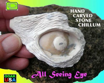 Geomorph All-Seeing Eye hand carved stone chillum