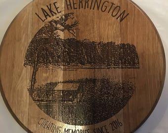 Lake Scene Bourbon Barrel Head
