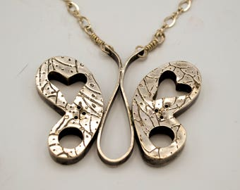Sold - Available for Special Order - Butterfly with Heart Hollow Form Sterling Silver Necklace