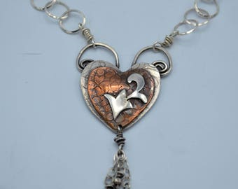Sold - Available for Special Order - Heart with a Flair Sterling Silver and Copper Necklace