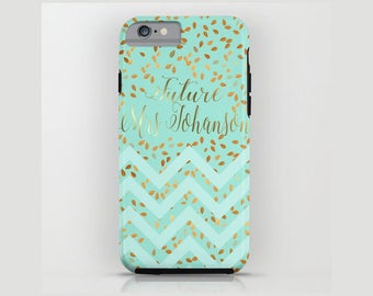 Custom Device case for iPhone / Samsung Galaxy, iPhone 7 /7s, iPhone 6 /6s, Samsung, Galaxy, Golden, Mint, Custom, Name, Gift, MRS, Bride