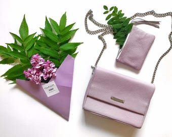 Leather clutch-Leather handbag- Evening clutch-Lavender leather clutch with chain