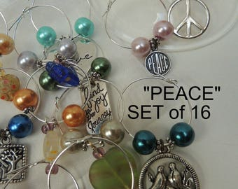 """Drink Tags 16 """"Peace"""" SET Wine Charms: All Year Celebration, Hostess Gift. For Mom. ALL DIFFERENT & Eco-friendly, Reusable, Multi-Use. WC114"""