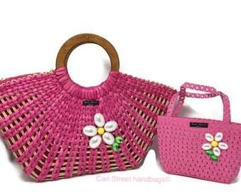 Cari Street handbags - Mommy and Me Handbag - Straw Handbag - Mother Daughter Bags - Childs Handbag - Wicker Flower Bag - Straw Bag