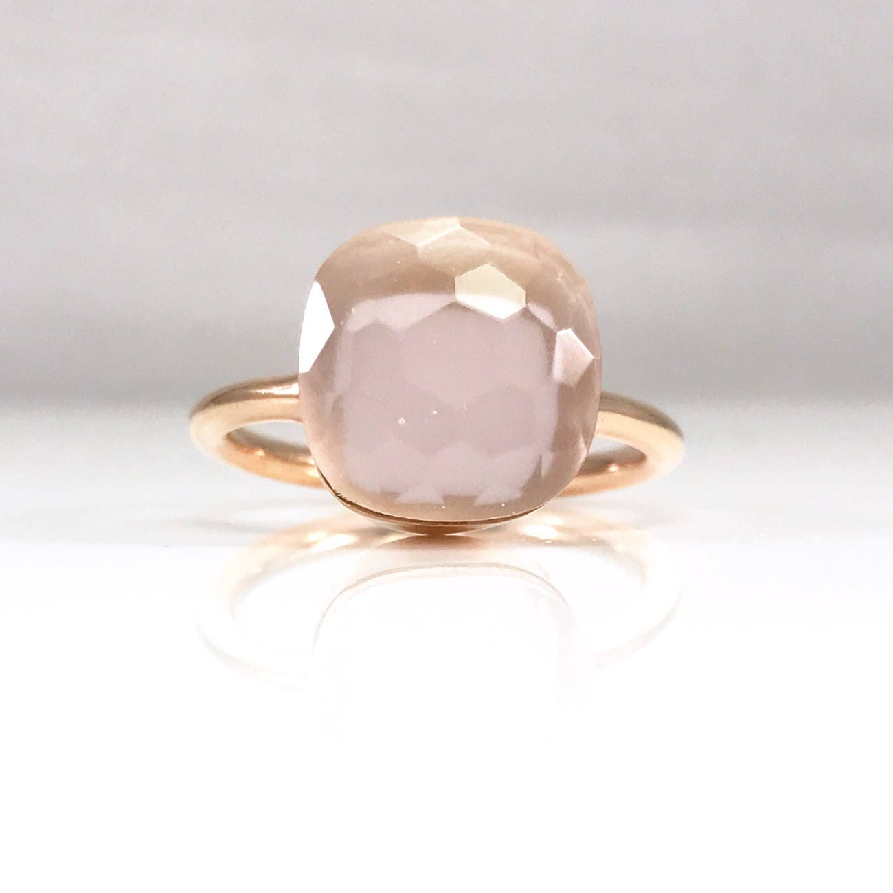 Pink quartz ring with rose gold vermeil yellow gold vermeil or