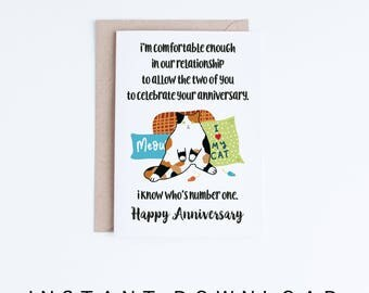 Printable Anniversary Card, Funny Calico Cat Anniversary Card, Spoiled Cat Funny Printable Card, Instant Download, Jealous Chubby Kitty