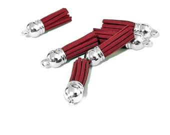 Small Tassels - 10 Deep Red Tassels, Silver Cap - Tassel Charms - Tassels For Jewelry - Key Chain Tassel - Tassels for Wine Charms - TC-S049