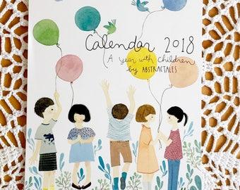 A4 size spiral wall calendar 2018, illustration calendar, watercolor children painting calendar
