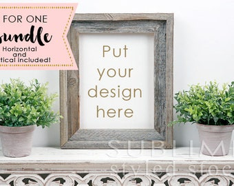 Frame Mock up / Styled Stock Photo / Wall Art Display / Wood Frame / Styled Empty Frame / Print Display / Blank Frame / StockStyle-861