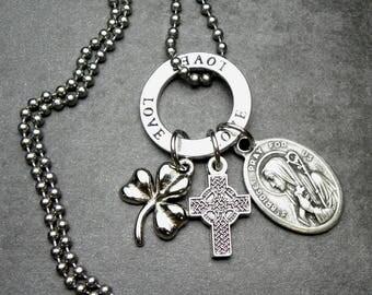 Irish Patron Saint Brigid Catholic Holy Medal & Shamrock Charm Celtic Cross Necklace, Catholic Jewelry