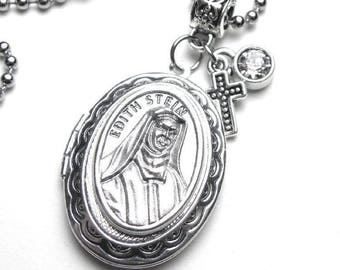 St. Edith Stein Catholic Holy Medal Locket Necklace, Catholic Gift, Devotional Jewelry, Confirmation Gift