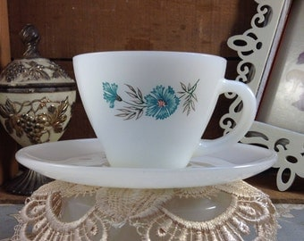 Vintage Fire King Blue Carnation Cup and Saucer Set #26 and #36