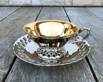 Metallic Gold Painted China Tea Cup and Saucer Set Reticulated Cup and Saucer Carrie Humbert 1960 Tea Party Vintage
