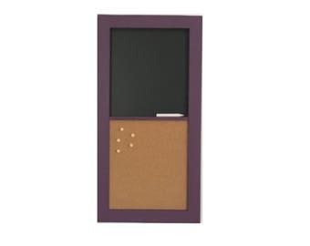 """Chalkboard Corkboard   12"""" x 24""""   Wall Mounted Chalkboard Corkboard   Custom Frame Finish Options"""