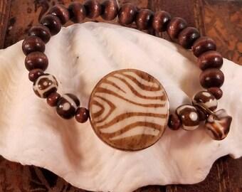 African Inspired Bone and Wood Bead Bracelet