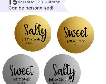 """Sweet and Salty- Sweet Salty Stickers- Wedding Favor Stickers- Wedding Favor Labels- 15 pairs of 1.5"""" Favor Stickers"""