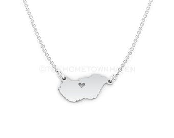 Hungary Necklace - Hungarian Pride, I heart Hungary, Hungary map necklace