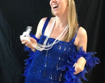 Halloween, Flapper costume, blue with fringe