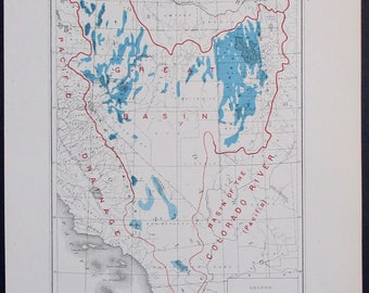 1890 Great Basin Lakes Map Basin Of Colorado And Columbia Rivers Western United
