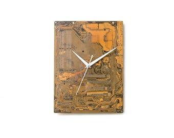 Large Yellow Wall Clock, Unique Gold Clock, Circuit Board Clock, Computer Clock, Unique Gift, Boyfriend Gift, Husband Gift, Industrial Clock