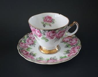 Tea Cup and Saucer Shafford Hand Decorated Japan White Pink Roses Gold Trim