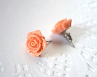 Pink rose earrings minimal earrings peach rose holiday gift for her post earrings sister gift rustic wedding flowers earrings stud earrings