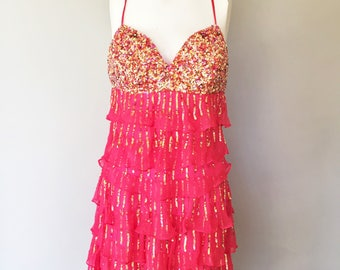 Gatsby Flapper Style Dress- TERANI COUTURE -  Pink Chiffon -Gold Sequins-Very Low Back-Pure Silk-Prom-Party