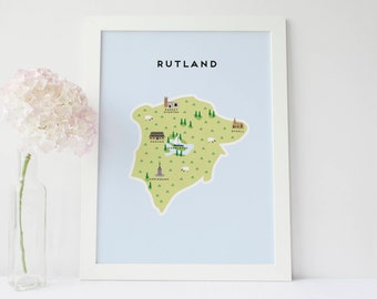 Map of Rutland - Illustrated Map of Rutland Print / Travel Gifts / Gifts for Travellers / United Kingdom / Great Britain