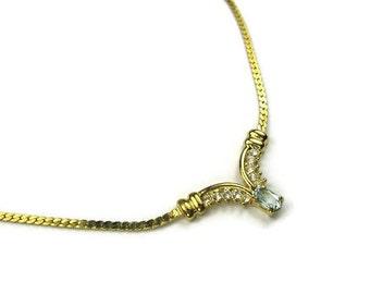 Vintage Aquamarine Gemstone Necklace