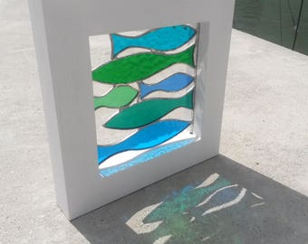 "Beautiful Large Framed Stained Glass Shoal of Green & Blue ""Sprats"" Fish"
