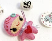 Cute Pink Love Ninja Mini Plush, Anniversary or Valentine's Day Gift, Doll Accessory for your Blythe, Pullip, Barbie, Monster High doll, BJD