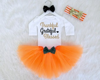 Thankful Grateful Blessed Baby Girl Outfit. Thanksgiving Baby