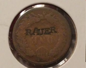 1883 Indian Head Cent Counterstamped RAUER