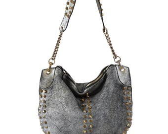 Shoulder Bag With Rivets, Handbag With Rivets, Blue Leather Bag Rivets, Intresting Leather Bag, Small Purse Bag, Purse Bag, Women Purse bag
