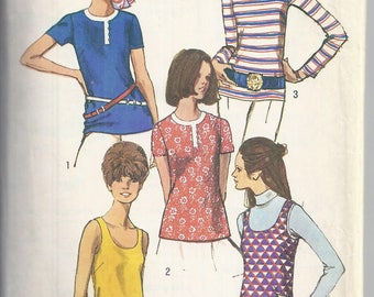 Simplicity 8834 Vintage Sewing Pattern from 1970;  Misses Blouses and Tank Top   Bust 34