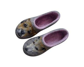 Italian greyhound portrait Needle felt painting Wool slippers Custom breed Dog shoes Felt slippers Whippet greyhound dog clothing galgo