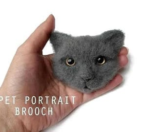 Realistic felt cat Personalized pet jewelry Custom felted brooch Felted wool cat pin